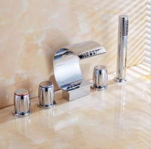 5 pezzi rubinetto vasca da bagno rubinetto doccia a cascata cromato rubinetti miscelatore bagno doccia rubinetto in ottone cromato con doccetta XR8217