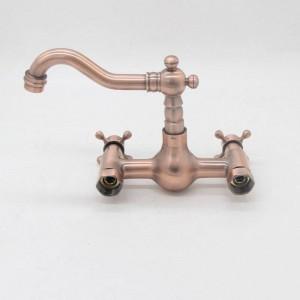 Rubinetto per lavello da cucina a parete in rame rosso antico con rubinetto per acqua calda e fredda doppia leva per rubinetti calda e fredda LAD-119