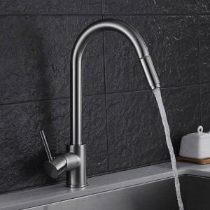 Nuovo stile Lusso Nichel Miscelatore da cucina monocomando Estrattore spruzzatore 360 Rubinetto monoforo girevole Miscelatore lavello LAD-84
