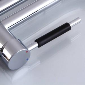 Pull Up Down Rubinetto della cucina Cromo LED Lavello girevole chiaro Lavabo Ottone Torneira Cozinha Rubinetto Miscelatori LAD-102