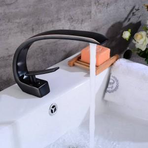 Newly Art Basin Faucet Beccuccio in ottone Rubinetti per bagno Rubinetto per miscelatore a freddo caldo Miscelatori a cascata Gru nera 9126S