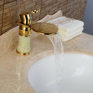 Newly Art Jade Body Bagno Rubinetto per lavabo Miscelatore in ottone Rubinetti dorati a cascata J310