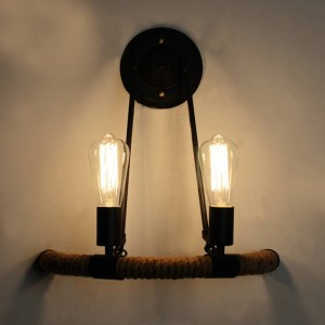 Nordic 2 teste E27 lampada da parete in corda di canapa creativo hotel ristorante caffetteria corridoio scala semicerchio applique da parete in ferro battuto