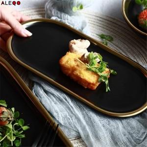 Piatto da cucina in oro nero nordico Tavolo da cucina Vogue Chic Elegante Lusso Gioielli da frutta Scrivania Scrivania Organizzatore decorativo