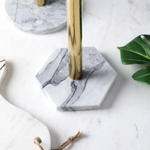 Mensola porta asciugamani da cucina in marmo naturale nordico placcato oro
