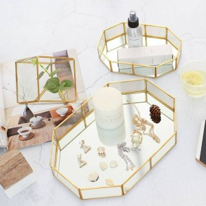 Contenitore per gioielli in vetro nordico scatola per esposizione per vassoio per decorazioni da tavolo per anello creativo
