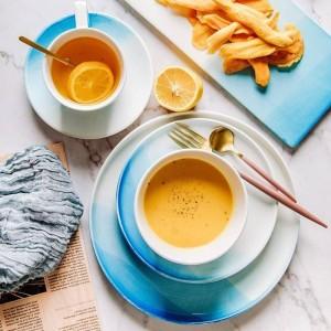 Piatto Nordico Gradiente Blu Colore Piatto In Ceramica Ciotola Tazza Piatto Di Frutta Piatto Da Dessert Vassoio Creativo Set Di Piatti Piatti Per Piatti Alimentari