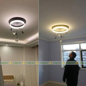 Plafoniera a LED nordica AC85-265V moderna creativa luna di angelo camera dei bambini Luci di decorazione della camera da letto a soffitto rotondo