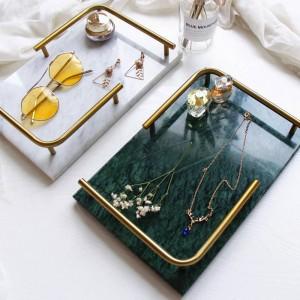 Vassoio da bagno di lusso nordico di lusso in marmo naturale con vassoio rettangolare per gioielli e profumi