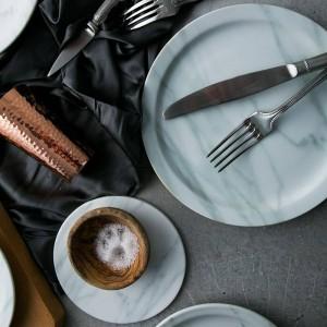 Piatti in marmo nordico Piatti per piatti da 23 cm / 18 cm Piatti per insalatiera Piatti in ceramica bandejas