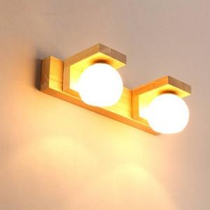 Faro nordico a specchio Lampada da parete a LED in legno semplice e moderno impermeabile in vetro impermeabile con applique da bagno