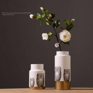 Ornamenti moderni nordici in ceramica creativa gufo vaso floreale disposizione camera decorazione interni casa ornamenti