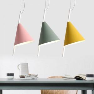 Nordico moderno e minimalista foyer lampada a sospensione arte del ferro personalità creativa ristorante Macarons ristorante giallo rosa verde illuminazione a LED