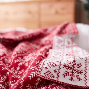 Fiocco di neve nordico Coperta lavorata a maglia Coperta di filo rosso Lenzuolo Lenzuola Aria condizionata Coperte per letti Divano Decorazioni natalizie