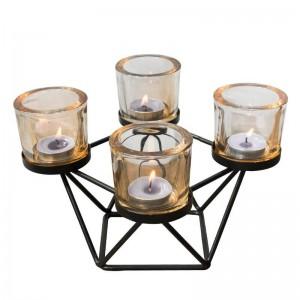 Portacandele stile nordico Ferro geometrico Art Candeliere in vetro Aromaterapia Candele Base a lume di candela Cena Luce notturna Decor