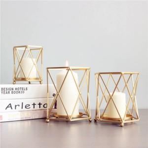 Portacandele stile nordico in metallo oro geometrico metallo ferro candela base ristorante festa luce notturna decorazione ornamenti artigianato