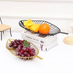 Vassoio di ferro in stile nordico Cesto di frutta a forma di foglia Cestino di caramelle semplice Snack Cestino da cucina Cucina Soggiorno Tavolo Piatto da frutta Decor