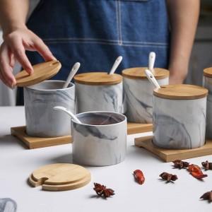 Vaso per condimento in ceramica marmorizzata in stile nordico Scatola per condimento in tre pezzi Contenitore per condimento per shaker di sale Set di spezie a prova di umidità