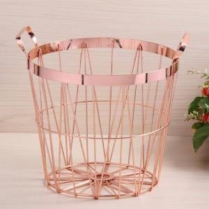 Cestino portabiancheria con manico in ferro battuto per cucina in oro rosa in stile nordico