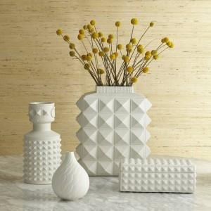 Vasi in ceramica geometrici bianchi in stile nordico Semplice camera moderna modello di casa Soggiorno Fiori Ornamenti Ornamenti