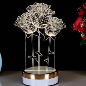 Novità Lampada creativa 3D a illusione 3 colori che cambiano Lampada da tavolo a LED in acrilico con luce notturna 3D per illuminazione sul comodino della camera da letto