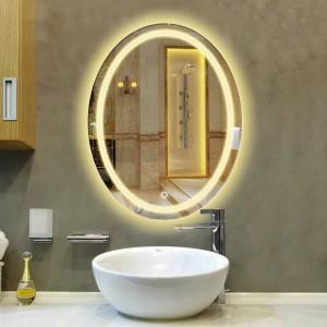 Bagno ovale lampada a LED specchio a parete bagno sospeso con specchio per il trucco leggero Interruttore touch moderno specchio da bagno mx12151130