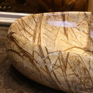 Lavabo da appoggio ovale stile europeo fatto a mano in ceramica Lavabo Bagno Lavandino Lavabo da bagno in marmo finto porcellana