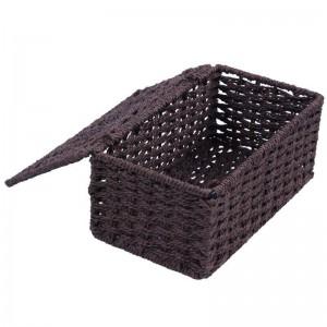 corda di carta + coperchio scatola telaio in ferro, marrone