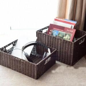Cestello portaoggetti intrecciato in pasta e rattan Cestello portaoggetti in stile giapponese Cestello portaoggetti finitura magazzino più grande cassetto