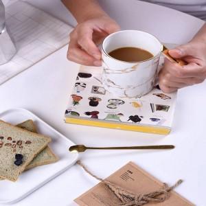 Personalità Tazza di caffè Tazze da colazione Tazza da latte e osso Cucchiaio Tazza da tè in porcellana britannica Teatime Pomeriggio a casa