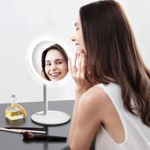 Specchio da trucco rosa a led da tavolo a LED lampada da tavolo intelligente riempire a casa pieghevole specchio da dormitorio portatile mx12261555