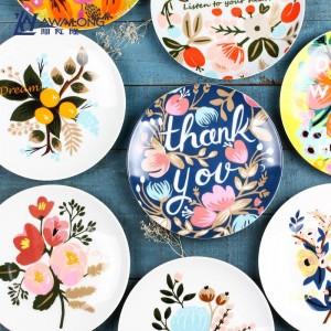Forno a microonde adatto creativo delle stoviglie ceramiche circolari creative del piatto della frutta della prima colazione dell'osso delle stoviglie della pianta del fiore della pianta