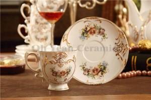Set da caffè in porcellana con disegno a forma di fiore in osso con contorno in rilievo in oro 15 pezzi set di tazze da caffè set da caffè con piattino da caffè