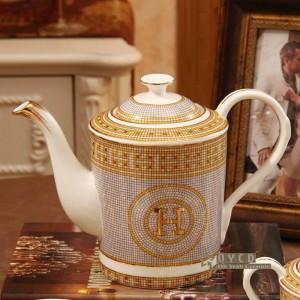 """Set da caffè in porcellana con osso """"H"""" disegno a mosaico contorno in oro 15 pezzi set da tè europeo caffettiera set di piattini da caffè"""