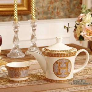"""Set da caffè in porcellana con osso """"H"""" disegno a mosaico contorno in oro 8 pezzi set da tè in ceramica caffettiera vassoio da tè"""