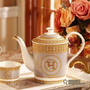 """Set da caffè in porcellana con osso """"H"""" disegno a mosaico contorno in oro 8 pezzi set da tè europeo caffettiera vassoio da tè"""
