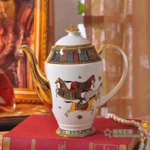 Set da caffè in porcellana con disegno a testa di donna disegno di colore rosso contorno in oro 15 pezzi set di tazze da caffè caffettiera brocca