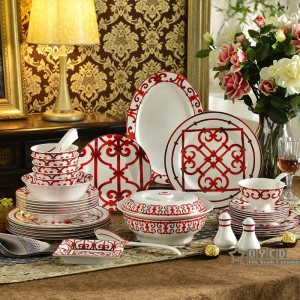 Set di stoviglie in porcellana rosso osso Caratteristiche design set di stoviglie 58 pezzi set di piatti 43 pezzi set di caffè 15 pezzi