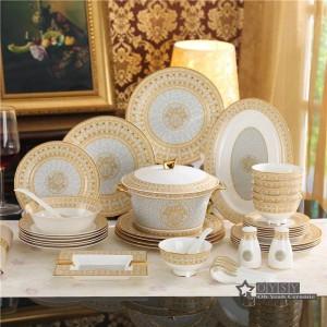 Set di stoviglie in porcellana contorno disegno mosaico in osso in oro 58 pezzi set di stoviglie set da pranzo set da caffè regali