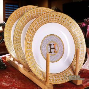 """Set di stoviglie in porcellana con contorno a """"H"""" in mosaico con contorno in oro 58 pezzi set di stoviglie set regalo per inaugurazione della casa"""