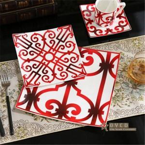 Set da tavola in porcellana in stile europeo in ceramica set moda osso Set da tavola in 5 pezzi rosso Set da pranzo a righe regali