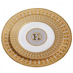 """Piatti piatti in porcellana con osso """"H"""" a mosaico con contorno di forma rotonda in oro Piatto piatto da 8 """"10"""" piatto grande in osso"""