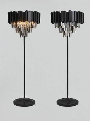 Lampade da terra in cristallo nero postmoderno per soggiorno Lampada da terra a led da scrivania a led Lampada da terra in cristallo fumo ristorante Lambader