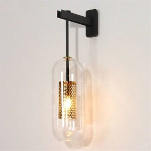 Applique moderna per interni illuminazione da parete lampada da parete applique creativa in vetro oro / nero per comodino camera da letto corridoio corridoio scala