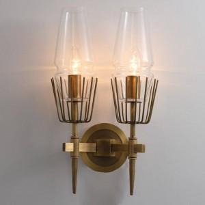 Lampada da parete industriale postmoderna 1/2 teste in vetro led Scone Lampada da parete ristorante Luce scale corridoio Lampada da comodino Camera da letto