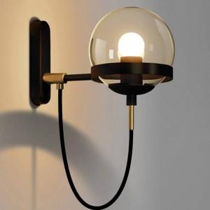 Lampada da parete nordica postmoderna Hotel Restaurant Lampada da parete vintage in vetro ambrato con paralume a sfera in vetro retro apparecchio industriale