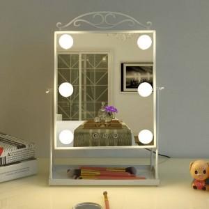 Specchio da trucco a LED in stile principessa con lampadina da tavolo per la casa spogliatoio bellezza riempire specchio decorativo da tavolo decorazione mx12281553