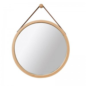 Specchio decorativo da parete rotondo in pelle PU Specchio decorativo con specchio per il trucco del bagno con cinturino appeso incluso gancio Decorazioni per la casa mx3071411