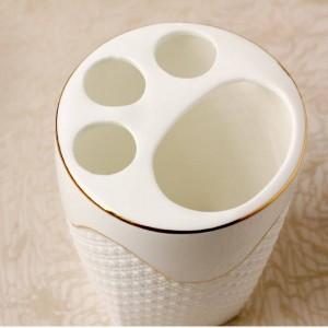Sollievo Bagno Sanitario Cinque set di carta Servizi igienici Abito Doccia Suite Gargle Cup Porta spazzolino in ceramica banheiro oro