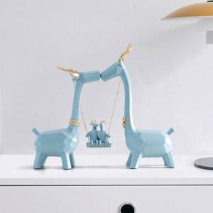 Resina Famiglia di cervi Intagliati a mano Figurine da collezione Resina in miniatura Moden simpatici animali ornamenti per decorazioni da ufficio a casa